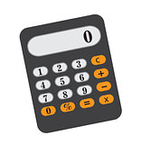Calculator icon, flat, cartoon style. Isolated on white background. Vector illustration.
