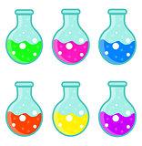 Laboratory bulb set icon, flat, cartoon style. Isolated on white background. Vector illustration.