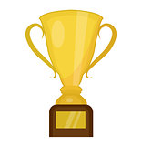 Cup winner icon flat, cartoon style. Isolated on white background. Vector illustration.