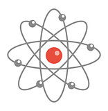 Atom molecule icon, flat, cartoon style. Isolated on white background. Vector illustration.