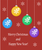 Merry Christmas greeting card or poster, flyer, flat style. New Year template for your design. Vector illustration.