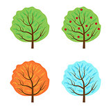 Trees set the seasons icon flat style. Isolated on white background. Vector illustration.