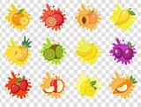Fruits splash set of labels. Fruit splashes, drops emblem.Isolated on a transparent background. Splash and blot kit. Vector illustration.