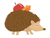 Cute hedgehog with apple and leaf on thorns, icon flat or cartoon style. Isolated on white background. Vector illustration.