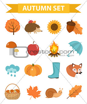 Autumn icons set flat or cartoon style.Collection design elements with yellow leaves, trees, mushrooms, pumpkin, wild animals, umbrella and boots. Isolated on white background. Vector illustration.