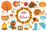 Hello Autumn icons set flat or cartoon style.Collection design elements with leaves, trees, mushrooms, pumpkin, wild animals, umbrella and boots. Isolated on white background. Vector illustration.