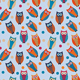 Cute owl kids seamless pattern, vintage style. Funny birds endless baby background. Vector illustration.