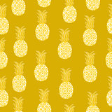 Vintage pineapple seamless pattern, retro style. Summer fruit endless background. Vector illustration.
