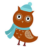 Cartoon owl isolated on white background. Cute bird wearing a hat and scarf, autumnal theme. Vector illustration.
