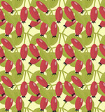 Rosehip seamless pattern. Hawthorn endless background. Red autumn berries repeating texture. Vector illustration.