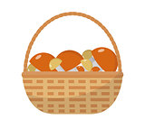 Basket with mushrooms icon flat style. Isolated on white background. Vector illustration.