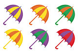 Umbrellas icon set, flat or cartoon style. Beach multicolored umbrella collection of design elements. Isolated on white background. Vector illustration.