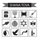 Set icons on the Jewish new year, black silhouette icon, Rosh Hashanah, Shana Tova. Cartoon icons flat style. Traditional symbols of Jewish culture. Vector illustration.