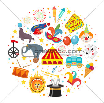 Circus icon set in round shape flat, cartoon style. Collection of elements with elephant, lion, Sealion, gun, clown, tickets. Isolated on white background. Vector illustration clip art.