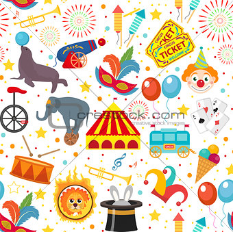 Circus seamless pattern. Holiday carnival endless background, texture. Isolated on white background. Vector illustration.