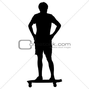 Black silhouettes man standing on a skateboard white background. Vector illustration