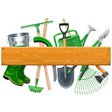 Vector Wooden Board with Garden Tools