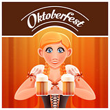 Octoberfest with woman and beer banner