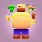 Fat man with burger and broccoli on his shoulders, vector image