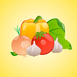Vector image of vegetables together on a yellow background