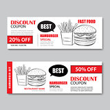 Fast food gift voucher and coupon sale discount template flat de