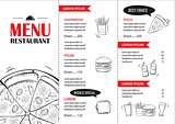 Fast food menu design template. Restaurant or cafe pizza cover h