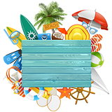 Vector Beach Concept with Blue Board