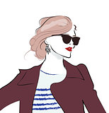 Stylish hand drawn girl in sunglasses. Fashion woman sketch