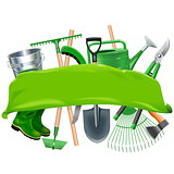 Vector Green Banner with Garden Tools