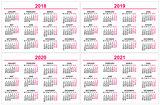 Set wall Calendar 2018, 2019, 2020, 2021 grid template