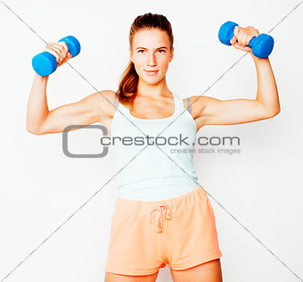 young pretty slim blond woman with dumbbell isolated cheerful smiling, measuring herself, diet people concept on white background