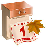 September 1 began fall. Tear-off calendar and yellow maple leaf