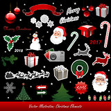 Christmas vector elements isolated on black