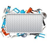 Vector Metal Frame with Hand Tools