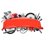 Vector Red Banner with Motorcycle Spares