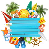 Vector Beach Accessories with Wooden Plank