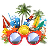 Vector Beach Concept with Red Sunglasses