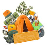 Vector Camping Concept with Tent