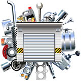 Vector Car Parts with Garage