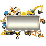 Vector Construction Frame with Bulldozer Shovel