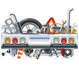 Vector Rear Car Part with Spares