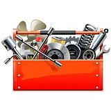 Vector Red Toolbox with Car Parts