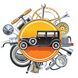 Vector Retro Car Parts with Old Automobile