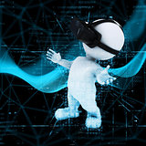 3D figure wearing VR headset on abstract code background