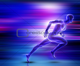 3D male figure sprinting with motion effect