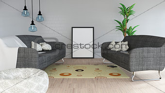 3D modern lounge interior with blank picture frame