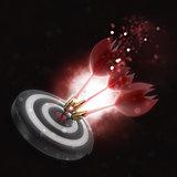 3D darts hitting the bullseye