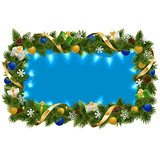 Vector Blue Fir Frame with Garland