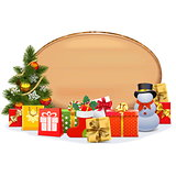 Vector Christmas Gifts with Oval Board