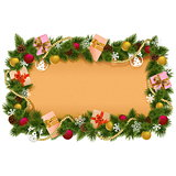 Vector Fir Frame with Paper Scroll